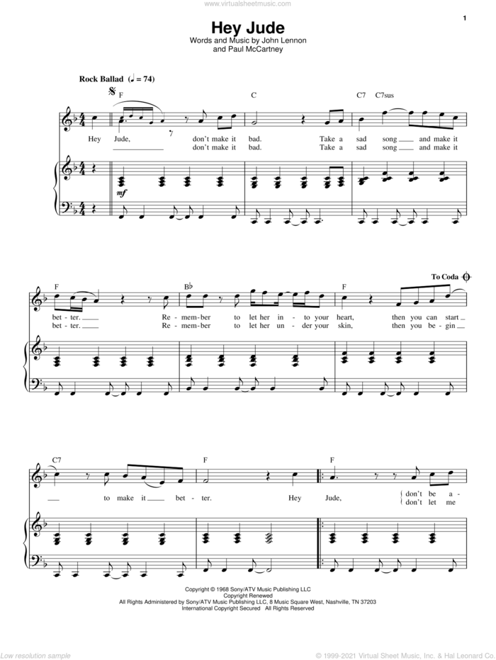Hey Jude sheet music for voice and piano by The Beatles, John Lennon and Paul McCartney, intermediate skill level