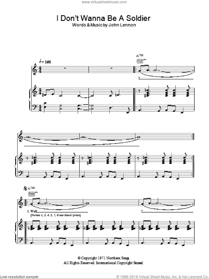 I Don't Wanna Be A Soldier sheet music for voice, piano or guitar by John Lennon, intermediate skill level