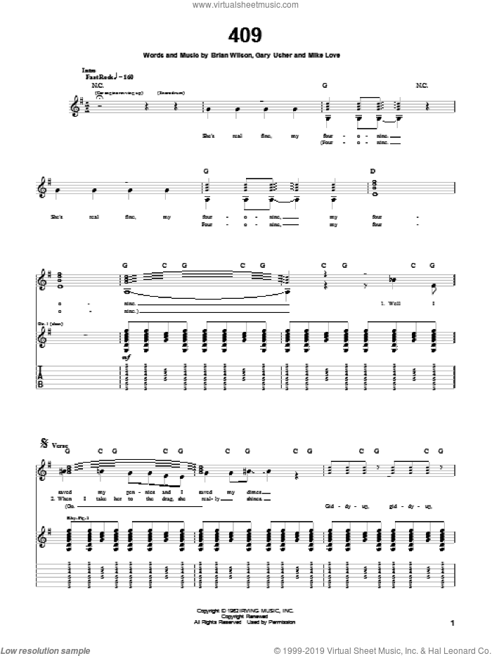 409 sheet music for guitar (tablature) by The Beach Boys, Brian Wilson, Gary Usher and Mike Love, intermediate skill level