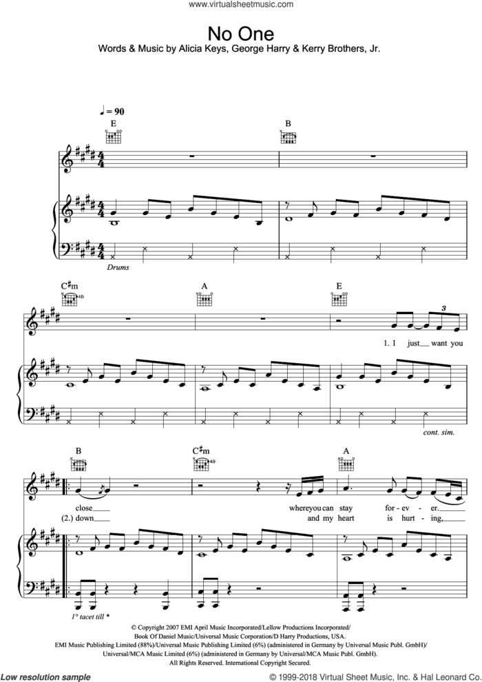 No One sheet music for voice, piano or guitar by Alicia Keys, George Harry and Kerry Brothers and Kerry Brothers, intermediate skill level