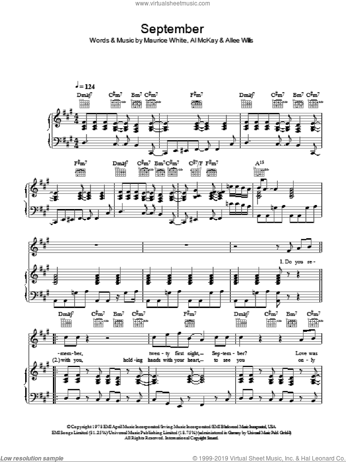 September sheet music for voice, piano or guitar by Earth, Wind and Fire, Earth, Wind & Fire, Wind And Fire Earth, Al McKay, Allee Willis and Maurice White, intermediate skill level