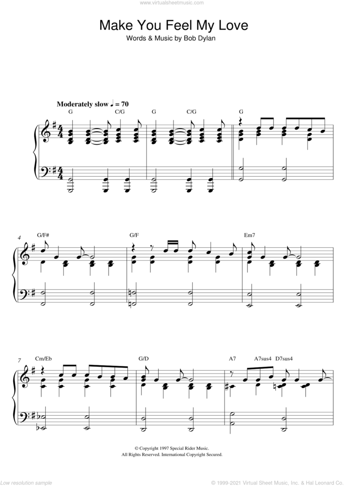 Make You Feel My Love sheet music for piano solo by Bob Dylan and Adele, intermediate skill level