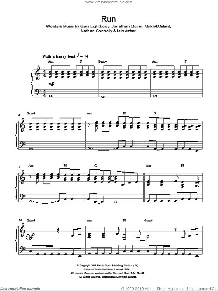 Run sheet music for piano solo by Snow Patrol, Gary Lightbody, Iain Archer, Jonathan Quinn, Mark McClelland and Nathan Connolly, intermediate skill level