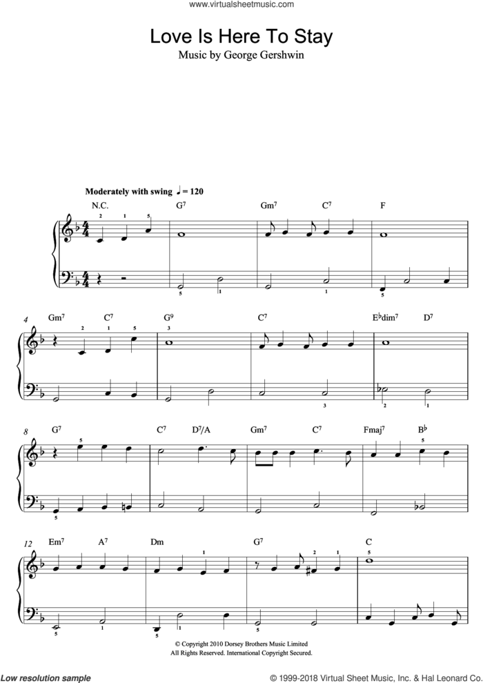 Love Is Here To Stay, (easy) sheet music for piano solo by George Gershwin, easy skill level