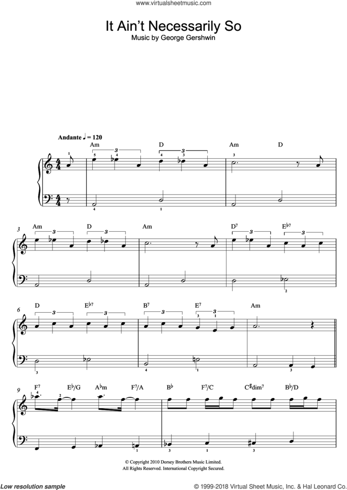 It Ain't Necessarily So (From Porgy And Bess) sheet music for piano solo by George Gershwin, easy skill level
