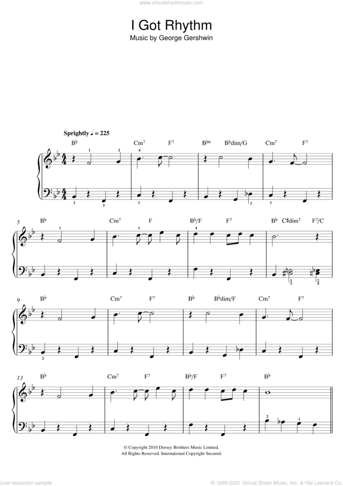 I Got Rhythm sheet music for piano solo by George Gershwin, easy skill level