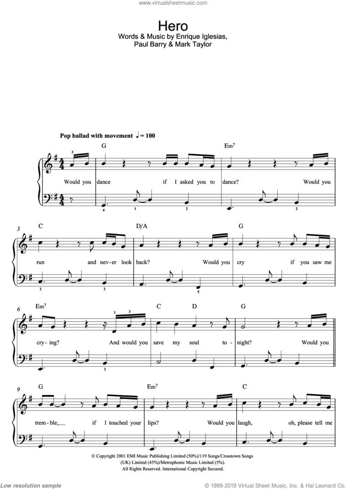 Hero sheet music for piano solo (beginners) by Enrique Iglesias, Mark Taylor and Paul Barry, beginner piano (beginners)