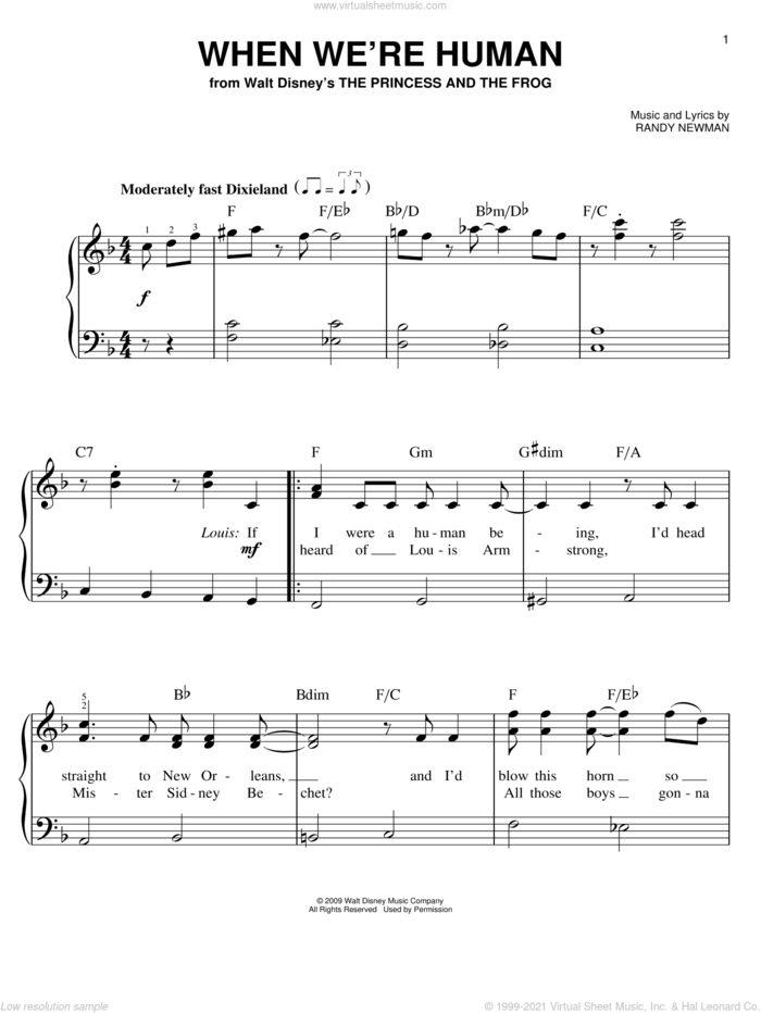 When We're Human sheet music for piano solo by Anika Noni Rose, The Princess And The Frog (Movie) and Randy Newman, easy skill level
