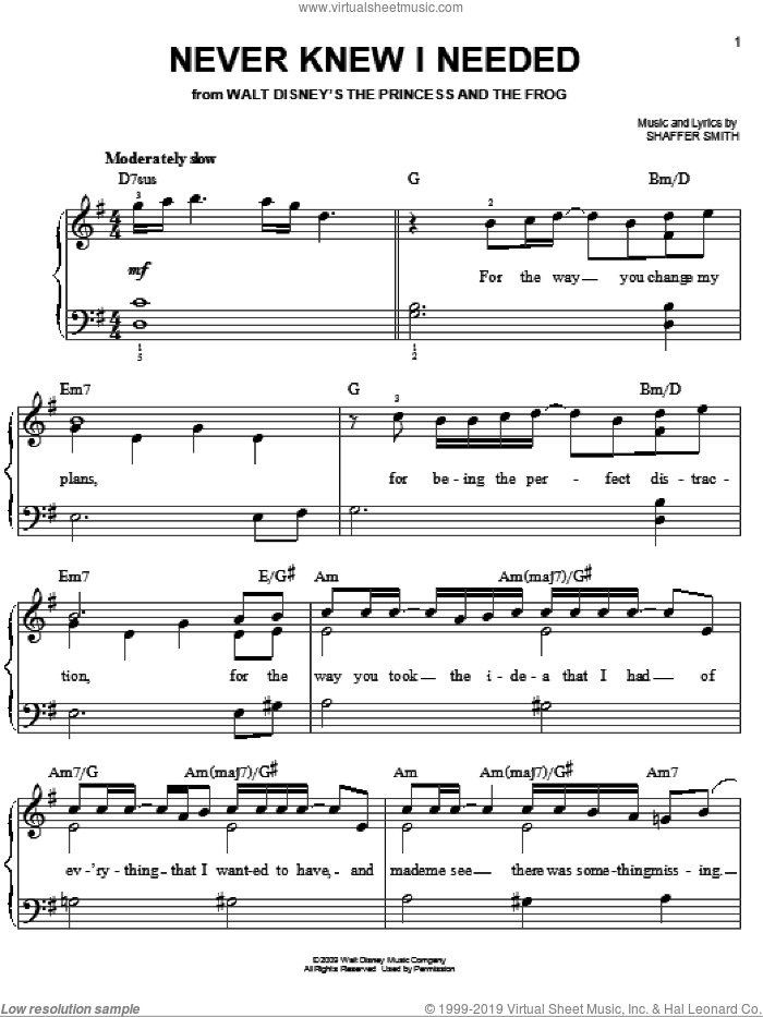 Never Knew I Needed sheet music for piano solo by Ne-Yo, The Princess And The Frog (Movie) and Shaffer Smith, easy skill level