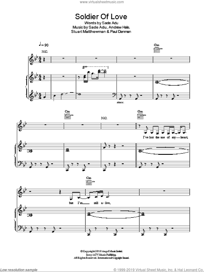 Soldier Of Love sheet music for voice, piano or guitar by Sade, Andrew Hale, Paul Denman and Stuart Matthewman, intermediate skill level