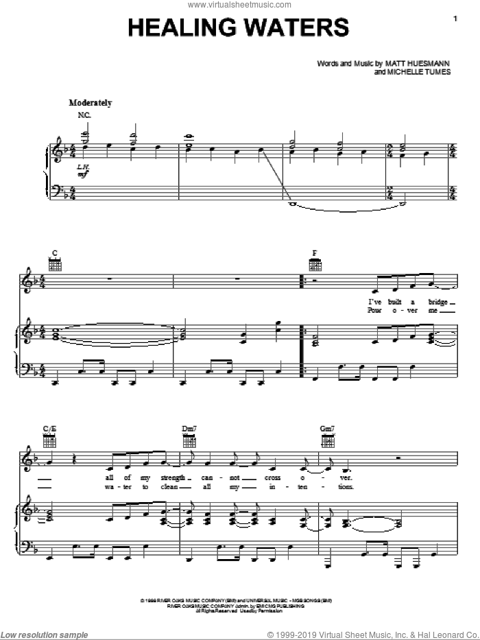 Healing Waters sheet music for voice, piano or guitar by Michelle Tumes and Matt Huesmann, intermediate skill level