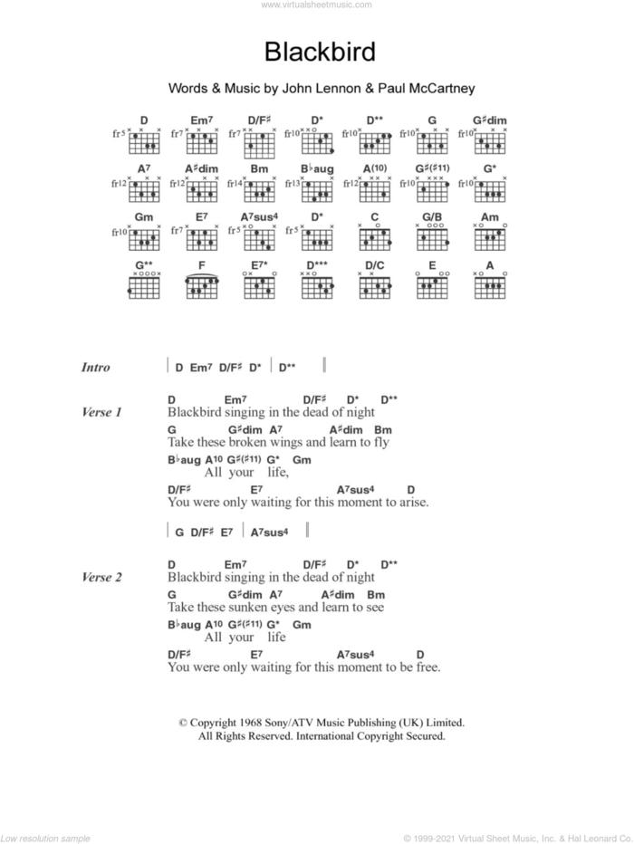 Blackbird sheet music for guitar (chords) by Jodie Winter, The Beatles, John Lennon and Paul McCartney, intermediate skill level