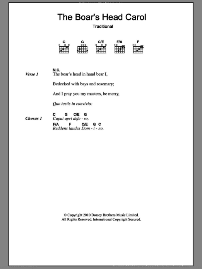 The Boar's Head Carol sheet music for guitar (chords), intermediate skill level