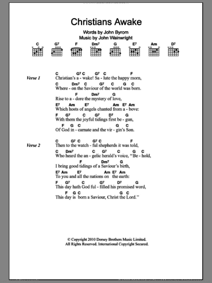 Christians Awake sheet music for guitar (chords) by John Byrom, Miscellaneous and John Wainwright, intermediate skill level