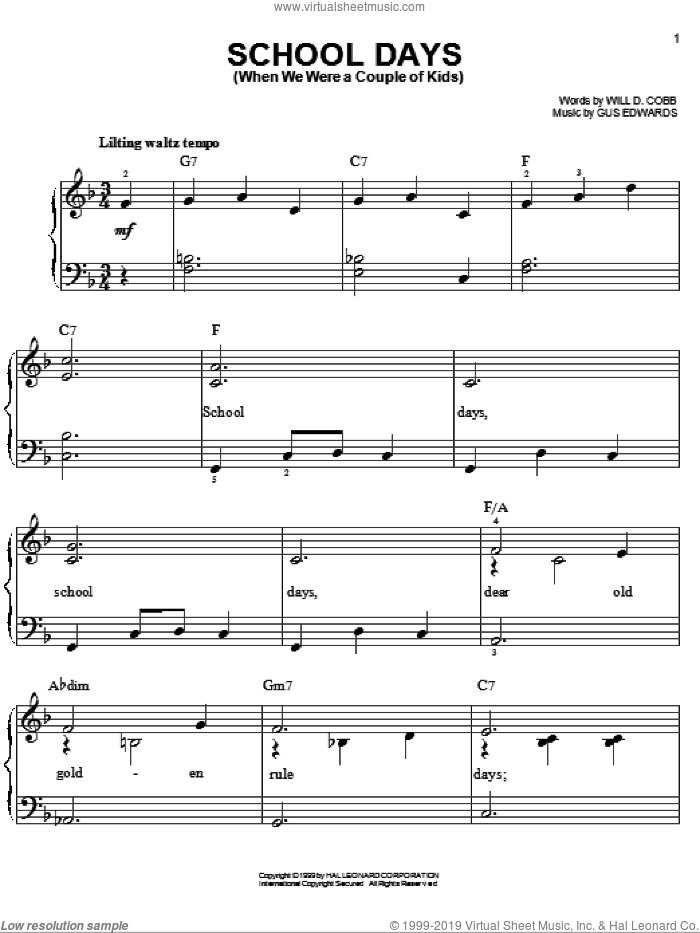 School Days (When We Were A Couple Of Kids) sheet music for piano solo by Will D. Cobb and Gus Edwards, easy skill level