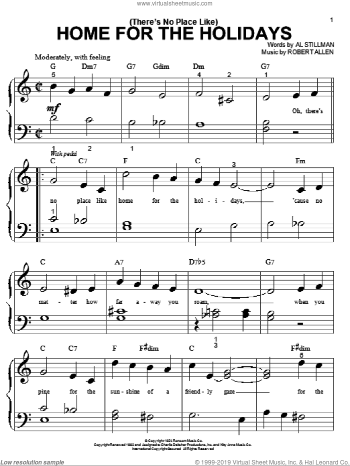 (There's No Place Like) Home For The Holidays sheet music for piano solo (big note book) by Perry Como, Al Stillman and Robert Allen, easy piano (big note book)
