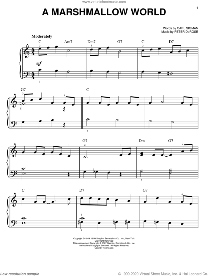 A Marshmallow World sheet music for piano solo by Bing Crosby, Carl Sigman and Peter DeRose, easy skill level