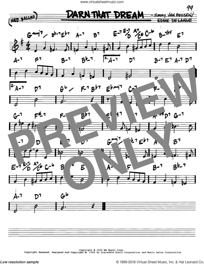 Darn That Dream sheet music for voice and other instruments (in C) by Jimmy Van Heusen and Eddie DeLange, intermediate skill level