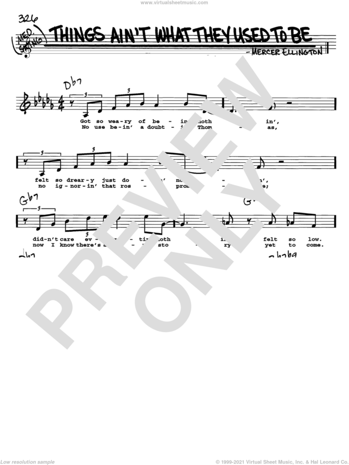 Things Ain't What They Used To Be sheet music for voice and other instruments  by Mercer Ellington, intermediate skill level