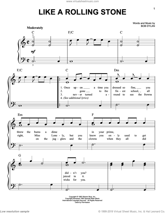 Like A Rolling Stone sheet music for piano solo by Bob Dylan, easy skill level