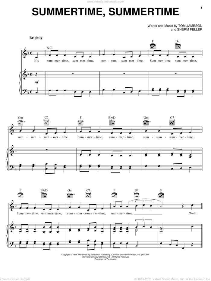 Summertime, Summertime sheet music for voice, piano or guitar by The Jamies, Sherm Feller and Tom Jameson, intermediate skill level
