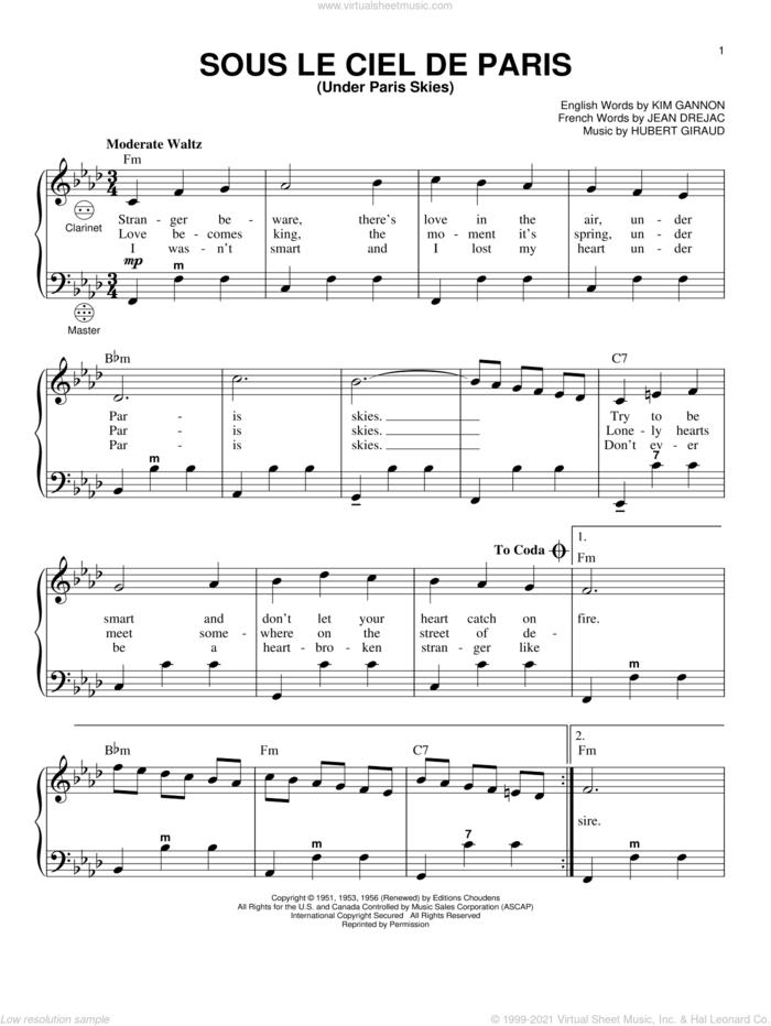 Under Paris Skies sheet music for accordion by Kim Gannon, Hubert Giraud and Jean Drejac, intermediate skill level