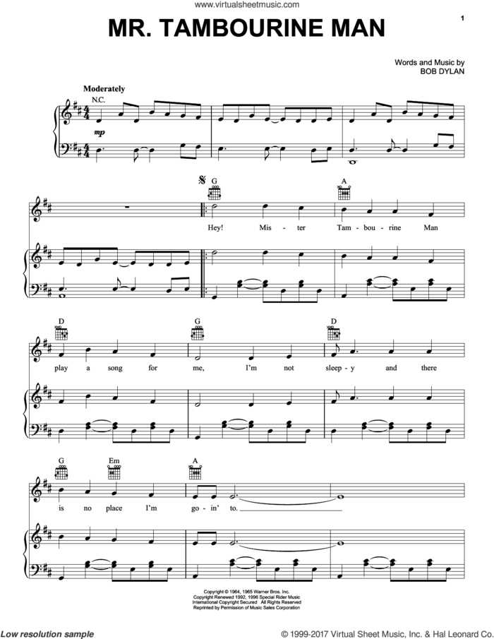 Mr. Tambourine Man sheet music for voice, piano or guitar by Bob Dylan, intermediate skill level