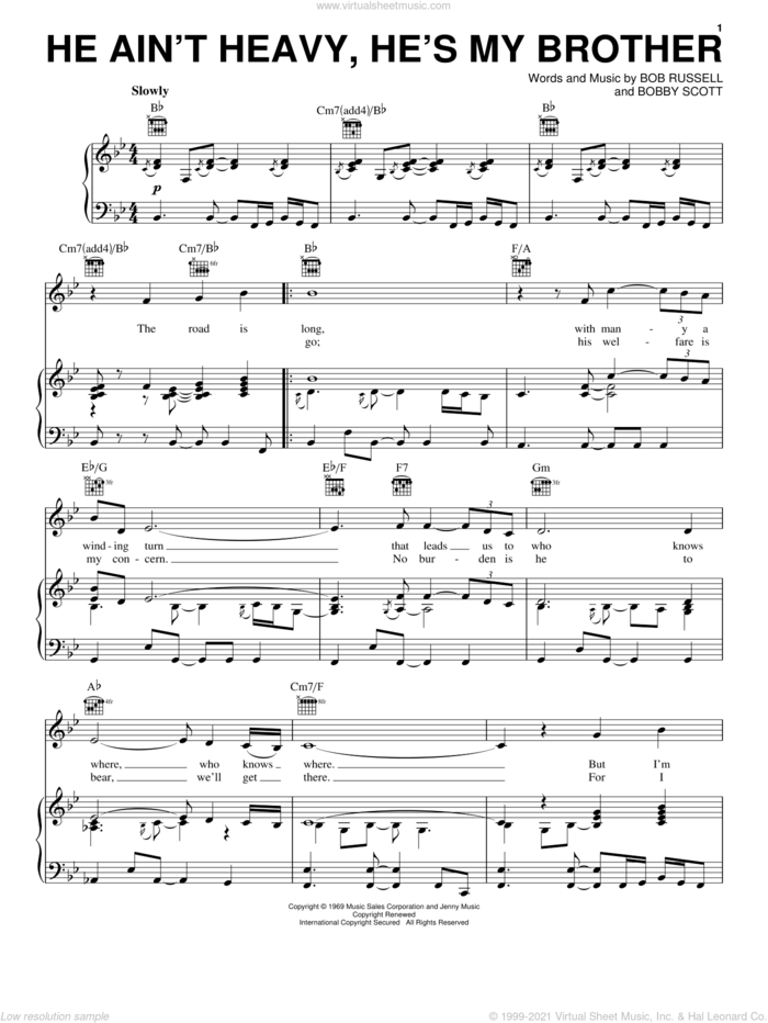 He Ain't Heavy, He's My Brother sheet music for voice, piano or guitar by Neil Diamond, The Hollies, Bob Russell and Bobby Scott, intermediate skill level