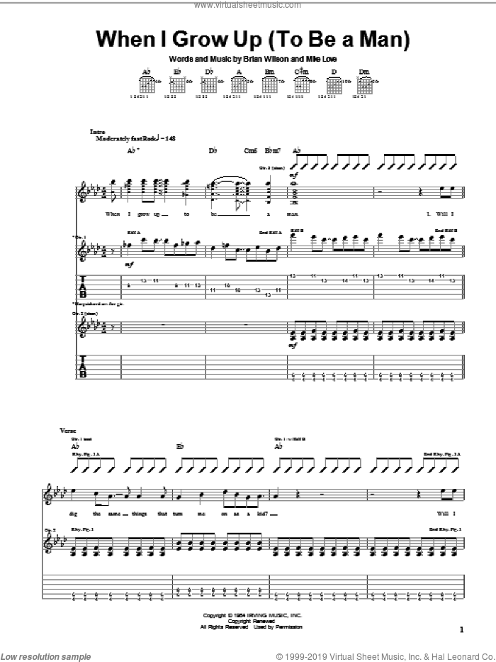 When I Grow Up (To Be A Man) sheet music for guitar (tablature) by The Beach Boys, Brian Wilson and Mike Love, intermediate skill level