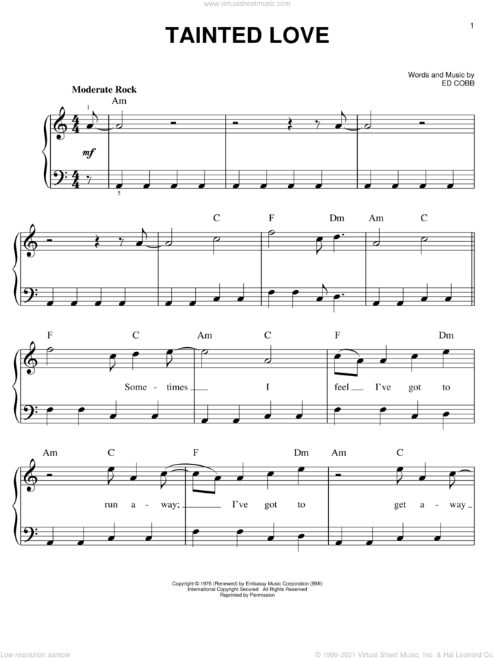 Tainted Love sheet music for piano solo by Soft Cell and Ed Cobb, easy skill level