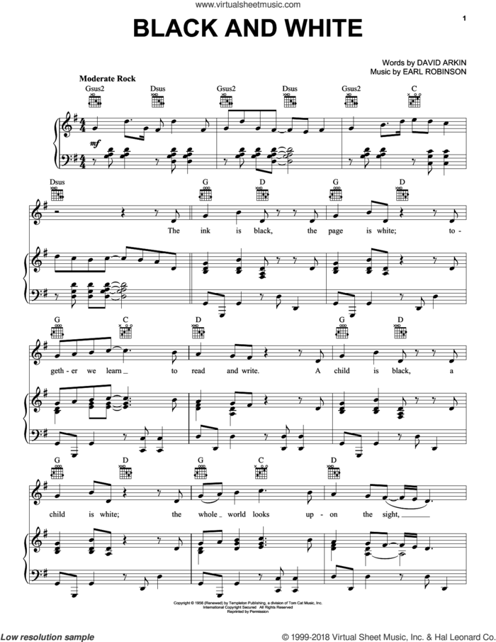 Black And White sheet music for voice, piano or guitar by Three Dog Night, David Arkin and Earl Robinson, intermediate skill level