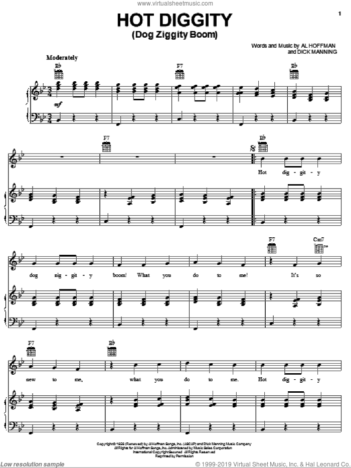 Hot Diggity (Dog Ziggity Boom) sheet music for voice, piano or guitar by Perry Como, Al Hoffman and Dick Manning, intermediate skill level