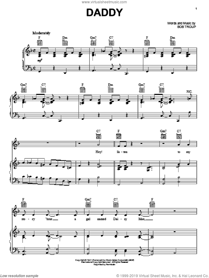 Daddy sheet music for voice, piano or guitar by Bobby Troup, intermediate skill level