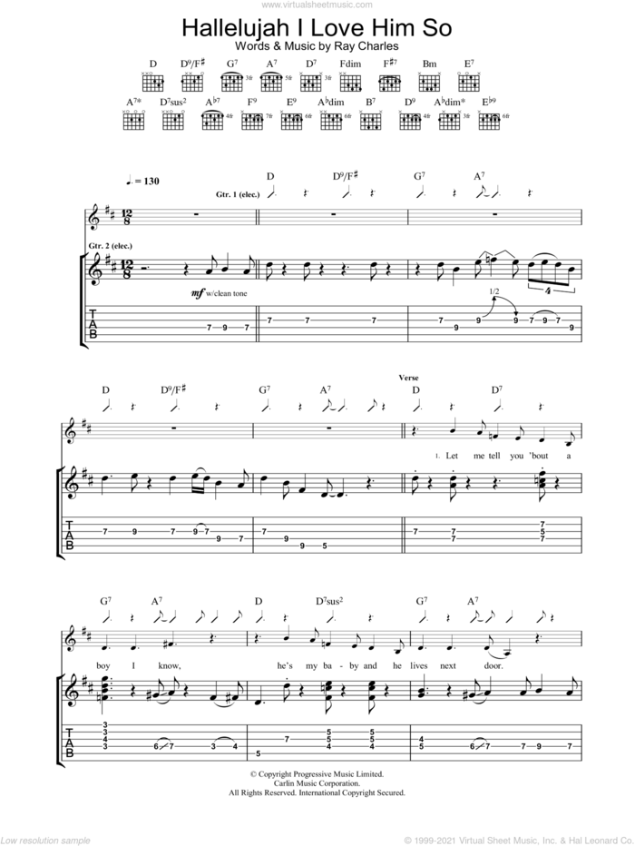 Hallelujah I Love Him So sheet music for guitar (tablature) by Eva Cassidy and Ray Charles, intermediate skill level