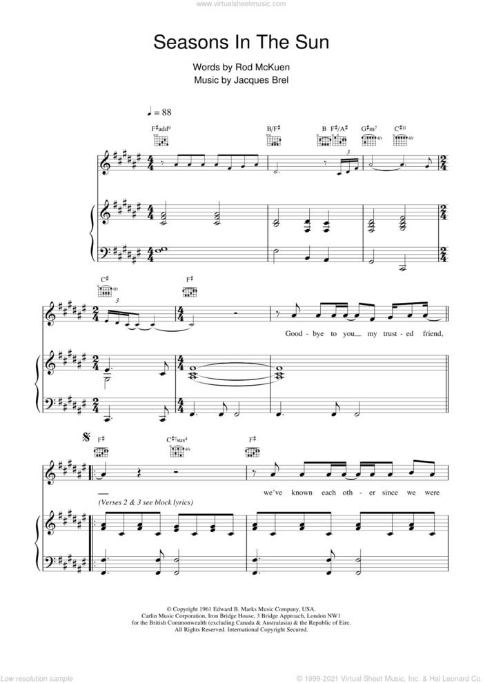 Seasons In The Sun sheet music for voice, piano or guitar by Westlife, BREL and Rod McKuen, intermediate skill level