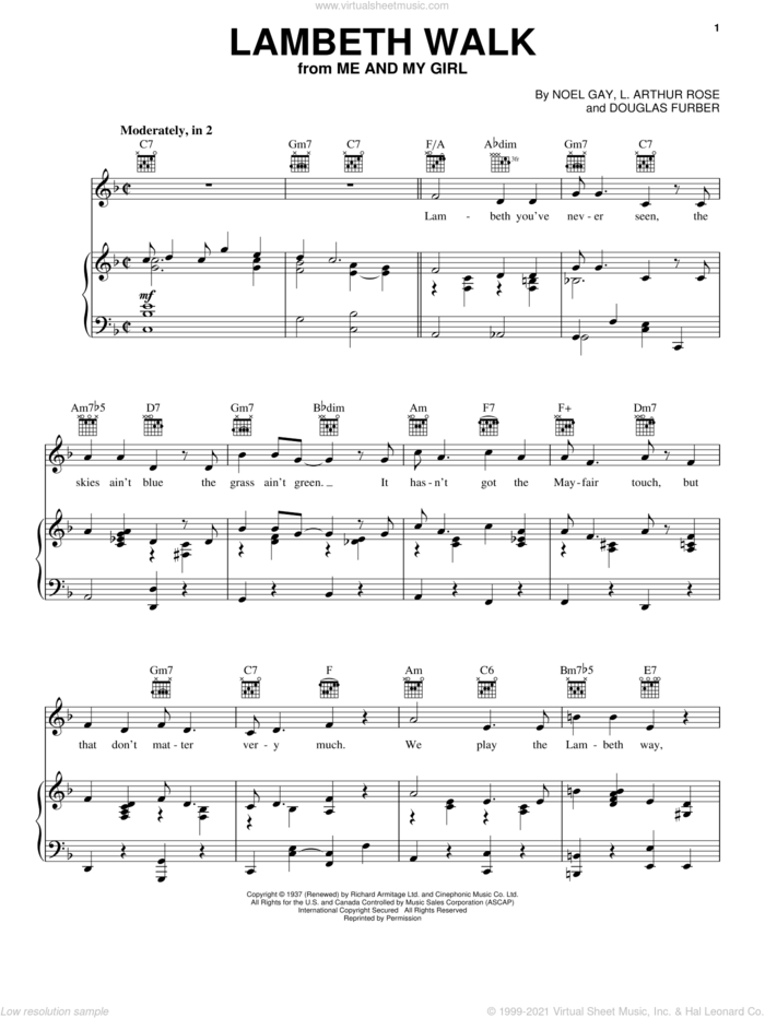 Lambeth Walk sheet music for voice, piano or guitar by Noel Gay, Douglas Furber and L. Arthur Rose, intermediate skill level
