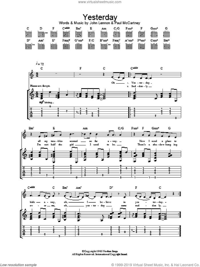 Yesterday sheet music for guitar (tablature) by Eva Cassidy, The Beatles, John Lennon and Paul McCartney, intermediate skill level
