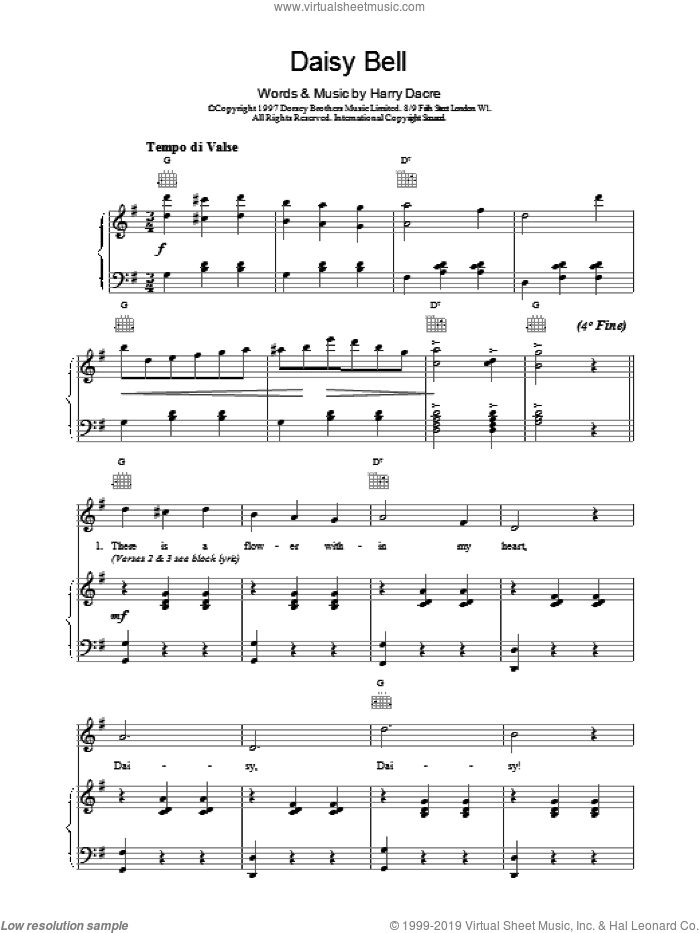 Daisy Bell sheet music for voice, piano or guitar by Harry Dacre, intermediate skill level