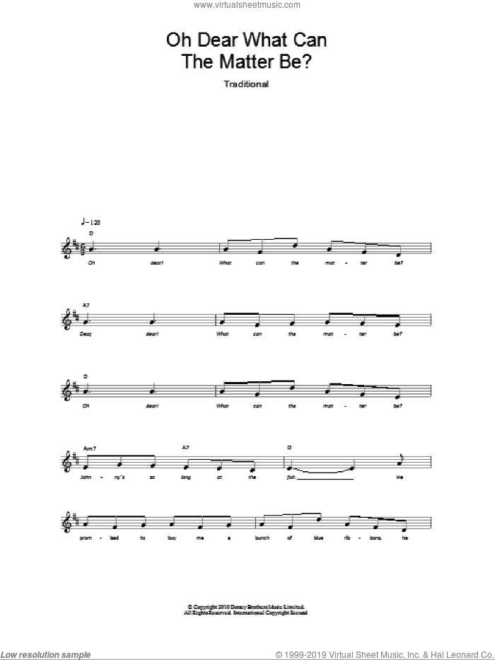 Oh Dear What Can The Matter Be? sheet music for voice and other instruments (fake book), intermediate skill level