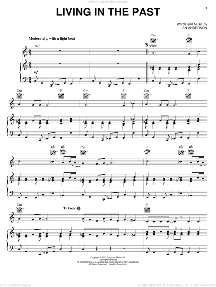 Living In The Past sheet music for voice, piano or guitar by Jethro Tull and Ian Anderson, intermediate skill level