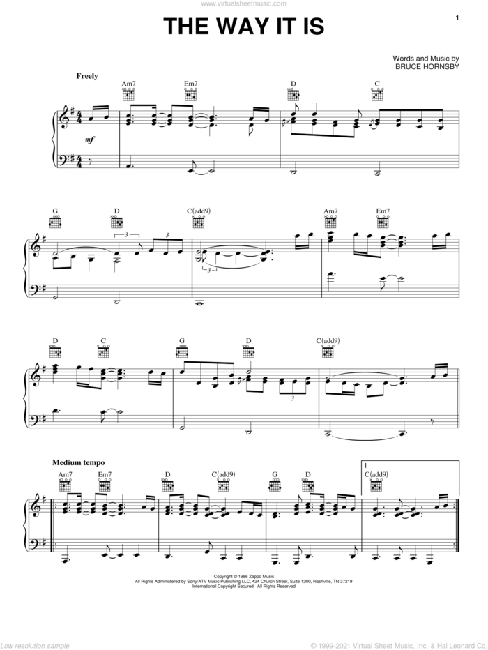 The Way It Is sheet music for voice, piano or guitar by Bruce Hornsby, intermediate skill level