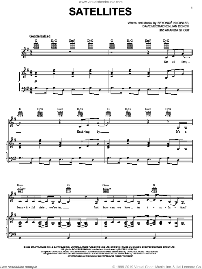Satellites sheet music for voice, piano or guitar by Beyonce, Amanda Ghost, Dave McCracken and Ian Dench, intermediate skill level