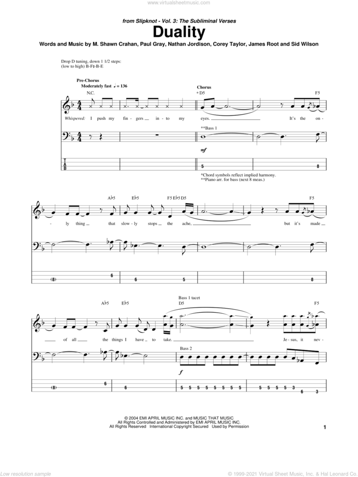 Duality sheet music for bass (tablature) (bass guitar) by Slipknot, Corey Taylor, James Root, M. Shawn Crahan, Nathan Jordison, Paul Gray and Sid Wilson, intermediate skill level
