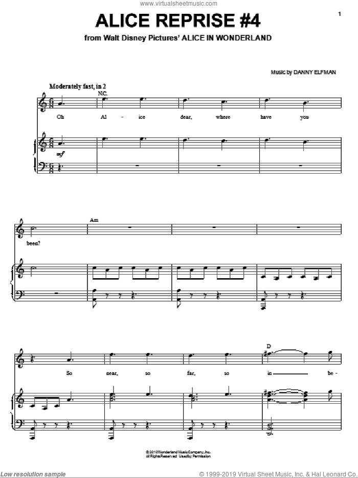 Alice Reprise #4 sheet music for voice, piano or guitar by Danny Elfman and Alice In Wonderland (Movie), intermediate skill level