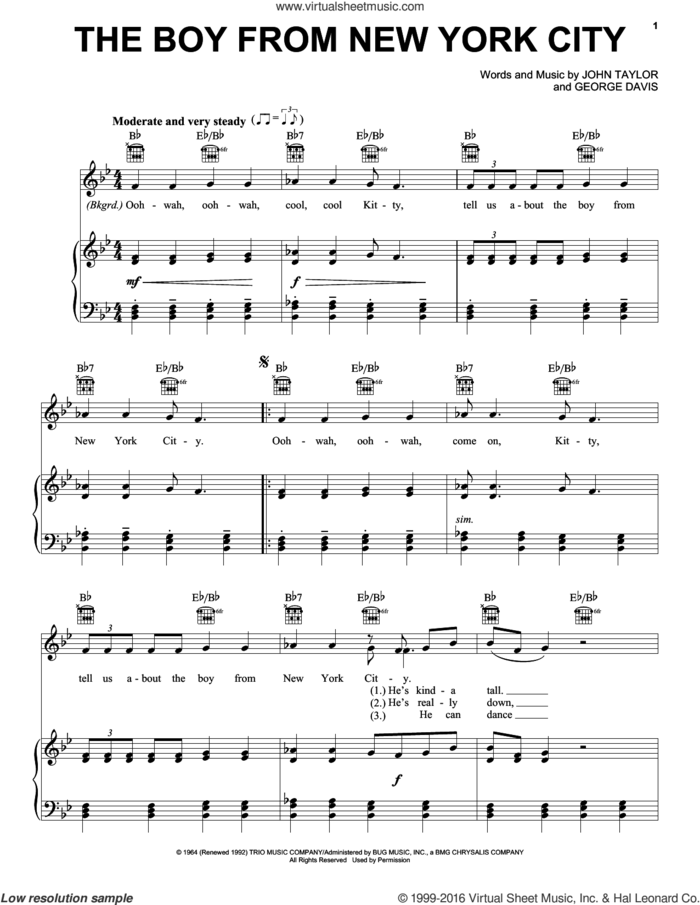 The Boy From New York City sheet music for voice, piano or guitar by The Ad Libs, Manhattan Transfer, George Davis and John Taylor, intermediate skill level