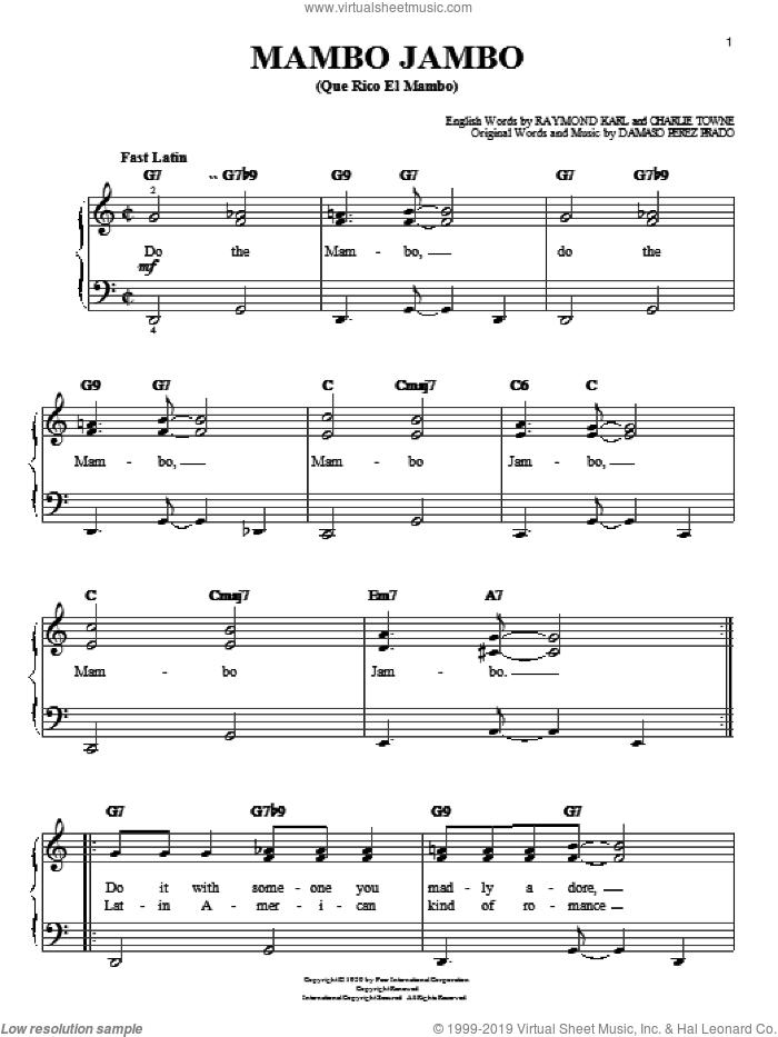 Mambo Jambo (Que Rico El Mambo) sheet music for piano solo by Perez Prado, Charlie Towne, Damaso Perez Prado and Raymond Karl, easy skill level