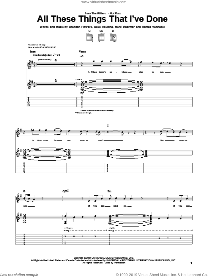 All These Things That I've Done sheet music for guitar (tablature) by The Killers, Brandon Flowers, Dave Keuning, Mark Stoermer and Ronnie Vannucci, intermediate skill level