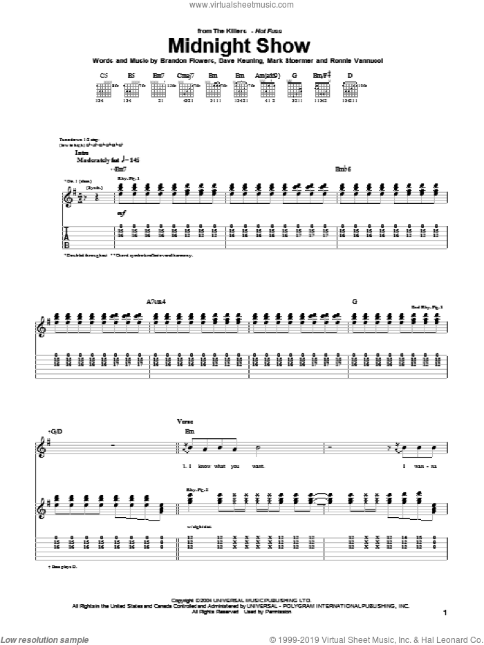 Midnight Show sheet music for guitar (tablature) by The Killers, Brandon Flowers, Dave Keuning, Mark Stoermer and Ronnie Vannucci, intermediate skill level