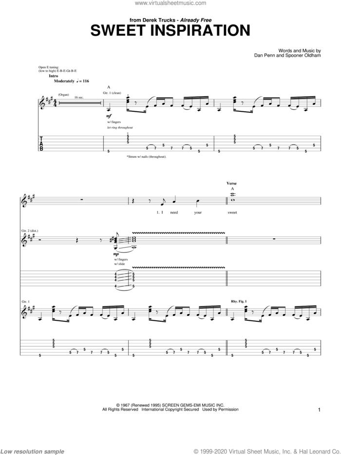 Sweet Inspiration sheet music for guitar (tablature) by The Derek Trucks Band, Rita Coolidge, Dan Penn and Spooner Oldham, intermediate skill level