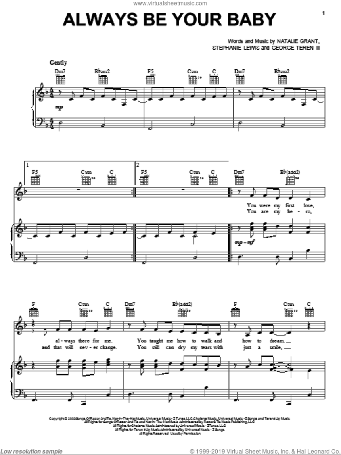 Always Be Your Baby sheet music for voice, piano or guitar by Natalie Grant, George Teren III and Stephanie Lewis, intermediate skill level